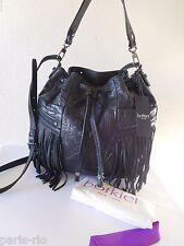 Botkier Bethany Fringe Floral Embossed Leather Drawstring Crossbody Bucket Bag!
