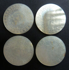 4 matching antique Chinese MOP MOTHER of PEARL pictorial GAMING CHIPS tokens NR