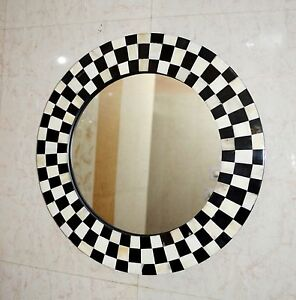 Vintage Horn/Bone Checker Wall hanging Mirror Wall Bathroom Dresser Handmade