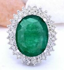 9.20 Carat Natural Emerald 14K Solid White Gold Luxury Diamond Ring