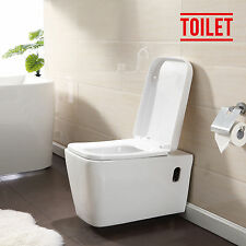 New Modern Wall Hung WC Toilet White Ceramic Soft Close Coupled Pan Bathroom