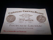 TRES RARE etiquette vin chateau CHEVAL BLANC 1929 inscription rouge wine label