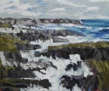 ORIGINAL MARTIN STONE Wild Atlantic II IRELAND IRISH COAST SEA CORK OIL PAINTING