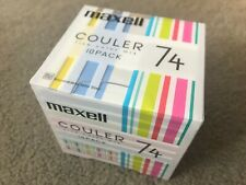 MAXELL COULER 74 MINUTE JAPANESE BLANK MINIDISCS - 10 PACK - NEW & SEALED