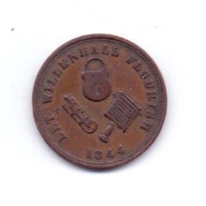 1844 Rushbrooke's Bronze Farthing Advertising Token 19th Century