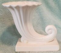 Vintage Porcelain Cornucopia/Horn Vase Planter White Made In Japan