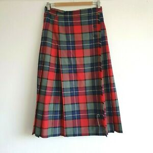 ALEXON Vintage Red Tartan Scottish Celtic Style Long Pleated Check Skirt UK 14