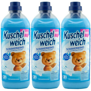 Kuschelweich Fabric Softener Summer Wind 3 x 1 L For 93 Washes Freshener Beads