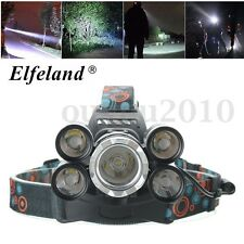 50000LM 5x T6 LED Rechargeable Headlamp 18650 Headlight Flashlight Torch Light