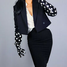 """LATEX LONG GLOVES Faux Shine Patent Leather 20"""" 50cm Large Polka Dot Loose Fit"""