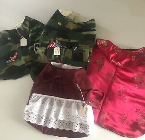 Lot of 4 Outfit  S/ML Dog Handmade (NEW) Cheongsam Camouflage Gingham