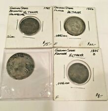 """(4) German """"Fractional Thaler"""" coins (two 1/6 & two 1/12) 1693, 1765, 1826&1835"""