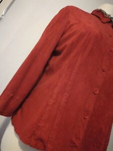 Burnt Orange Faux Suede Stitches Button Down Shirt Large UK 16 Boho goth spring