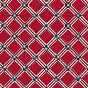"""Patriotic Fabric - Salute Red & Blue Printed Check - Andover 28"""""""