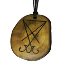 Sigil of Lucifer Seal of Satan Handmade Wooden Engraved Necklace Charm Pendant
