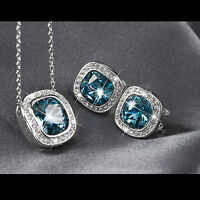 18k white gold gf made with SWAROVSKI crystal sky blue earrings necklace set