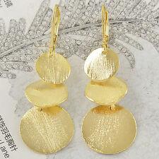 Roman Style Yellow Gold Filled Leaf Womens Dangle Earrings 45*15mm,Z2462