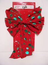 Red & Green Dot Inside Or Outside 10 Loops Velvet Bow Decoration