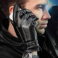 Herren Winter Knopf Leder Handschuhe Kaschmir Futter Fäustling Schwarz M L XL
