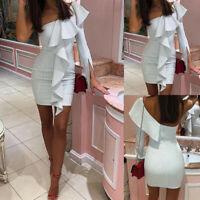 US Women Summer Sleeveless Bodycon Party Evening Cocktail Short Mini Dress