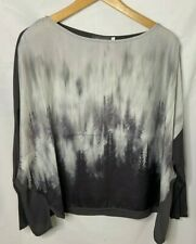 Mint Velvet Top Size 10 Grey Forest Print Casual Relaxed Contrasting Back