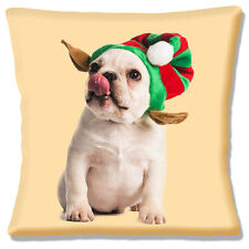 "French BULLDOG Puppy Knitted hat PHOTO FAWN BLACK WHITE 16"" Pillow Cushion Cover"