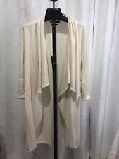 TAHARI 100% Cashmere cream Long Cardigan Duster sweater Size M Medium