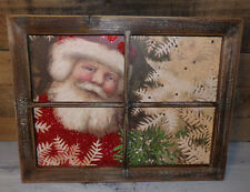 Led Wood Light Up Christmas Sign Decor Santa In The Window Christmas Wall Decor