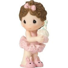 New PRECIOUS MOMENTS Porcelain BIRTHDAY CAKE Figurine Girl Statue CUPCAKE TOPPER