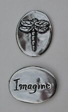 zzD Imagine dragonfly spirit HANDCRAFTED PEWTER POCKET TOKEN CHARM basic coin