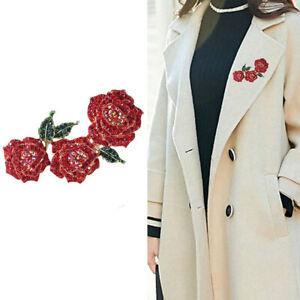 Strass Blumenbroschen Frauen Sparkling Rose Hochzeiten Party Brosche Pins GesBOD