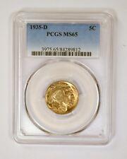 1935-D Buffalo Nickel graded gem MS65 by PCGS scarce date coin in high grade