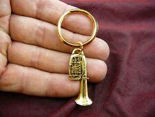 (M-205-D) TUBA KEY CHAIN ring keychain JEWELRY 24k gold plate Mirafone 5 valve