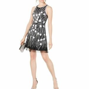 ADRIANNA PAPELL NEW Women's Contrast Beaded Embellished Mesh A-Line Dress TEDO