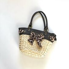 APHORISM Beige Straw Hand Bag with Leopard print scarf Bow CUTE!