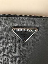 "PRADA GREY SAFFIANO LEATHER PORTFOLIO 14""x9"" Barely Used! $800 Retail!"