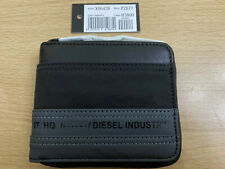 Diesel Zippy Hiresh S Bi-fold wallet in cotton and leather - Black/Blue BNWT