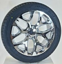 """Chevy Silverado Chrome Snowflake 22"""" Wheels Tires 2000-2018 Tahoe Suburban"""