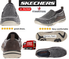 Men's Relaxed Fit Elected Drigo Slip-On Loafer, Charcoal,12 XW US,By Skechers