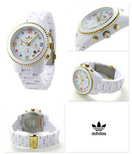 Adidas Unisex Brisbane Chronograph White Gold Tone Resin Watch ADH2945 $125