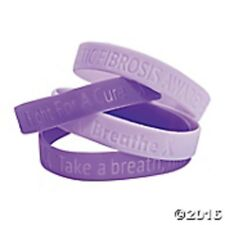 24 pc. Purple & Lavender Ribbon Cystic Fibrosis Awareness Bracelets