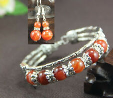 Ladies Bangle Orange Agate Tibetan Silver Bracelet Earrings Christmas Gift