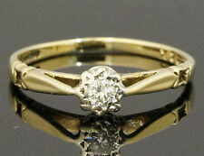 9carat ORO GIALLO SOLITAIRE DIAMOND RING (taglia K 1/2)