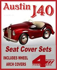 VINTAGE AUSTIN j40 PEDALE Car Seat Cover Nero Con Piping Rosso