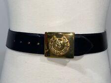 Avignon Black Leather Belt Gold Toned Spanish Military Buckle Size Large