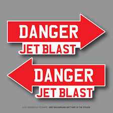 2 x Danger Jet Blast Aircraft Warning Vinyl Stickers Decals 100mm x 42mm - 2750
