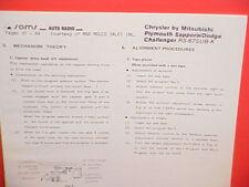 1978 PLYMOUTH SAPPORO DODGE CHALLENGER 8-TRACK TAPE/AM-FM RADIO SERVICE MANUAL