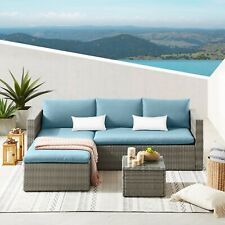 More details for rattan garden furniture corner sofa set lounger table patio outdoor conservatory
