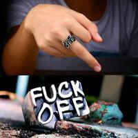 Women Men FUCK-OFF Gothic Funny Punk Rock Biker Finger Rings Jewelry Gift
