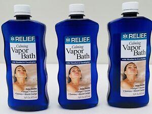 3 Pack, Relief Calming Vapor Bath w/ Menthol & Eucalyptus 16 oz Each